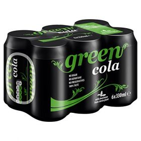 6 x Green Cola Can 330ml